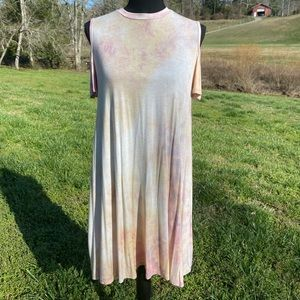Luxe Boutique Pink Tiedye Cold Shoulder Dress S